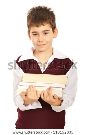 Student boy carrying stack of books isolated on white background - stock photo