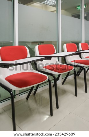 Student chair color in the small classroom - stock photo