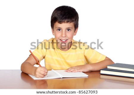 Student child in the school isolated over white background - stock photo
