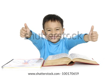 Student child smiling saying OK - stock photo