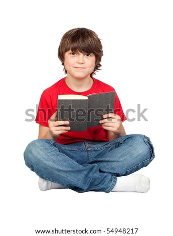 Student child with a book isolated over white background - stock photo