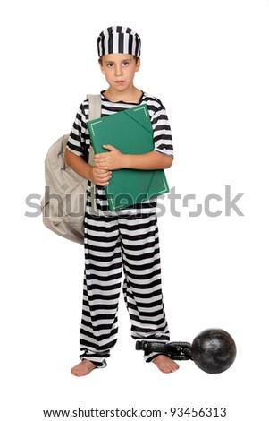 Student child with prisoner costume isolated on white background - stock photo