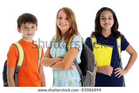 Student children in colorful shirts against a white background