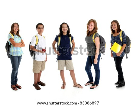 Student children in colorful shirts against a white background - stock photo
