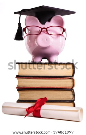 Student college university graduate piggybank with degree diploma isolated on white, front view - stock photo