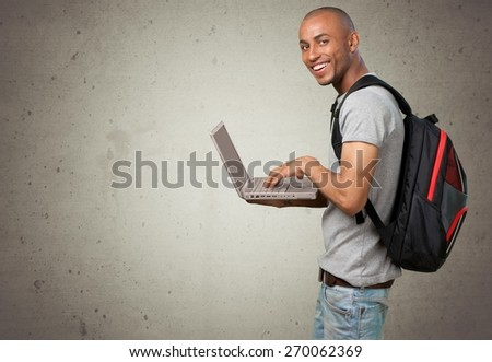 Student, Computer, Laptop. - stock photo