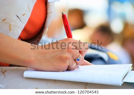 student, conference meeting, hand, pen, notebooks and writing - stock photo