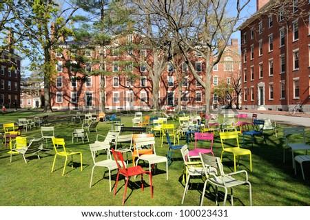 Student dorms in Harvard Yard - stock photo