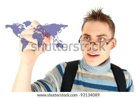 Student drawing the map of world on white background - stock photo