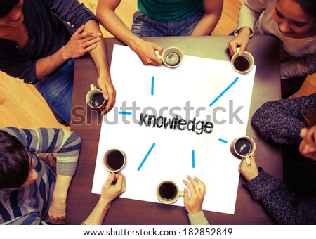 Student drinking coffee sitting around page saying the word knowledge