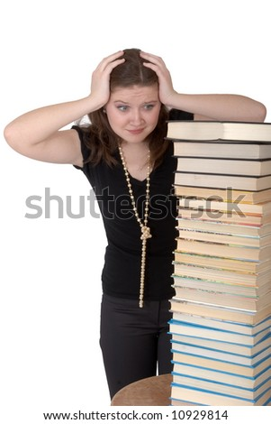 student during preparation for examinations - stock photo