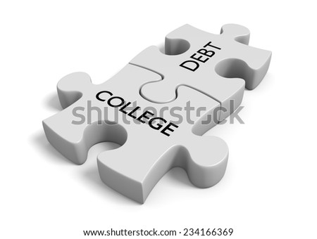 Student financial aid concept of puzzle pieces locked together with the words college debt - stock photo