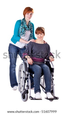 Student Friends, One In Wheelchair isolated on white background - stock photo