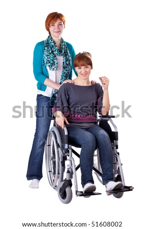 Student Friends, One In Wheelchair isolated on white background