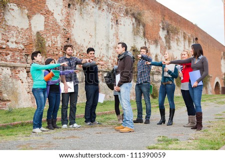 Student get Mobbed by the Group - stock photo