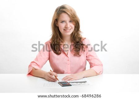 Student girl analyze business data