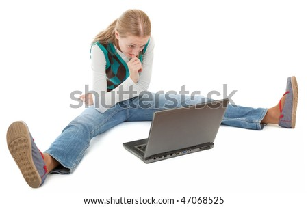 student girl and laptop on white background - stock photo