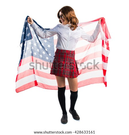 Student girl holding an american flag