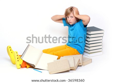 Student girl in frustration after hard studying - stock photo