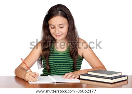 Student girl in the school isolated over white background