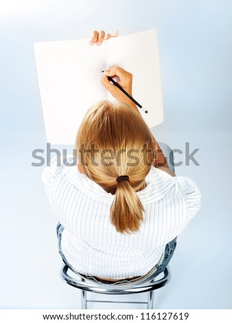 Student Girl Passing Exams In Classroom Cute Schoolgirl Drawing Textbook Sweet Teenager Writing