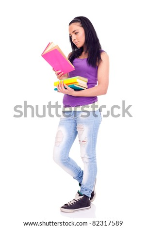student girl reading book, beautiful teenage, isolated on white background - stock photo