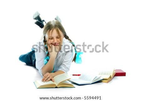student girl reading books over white - stock photo