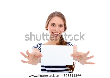 Student girl showing  white blank sheet - copy space, isolated over background - stock photo