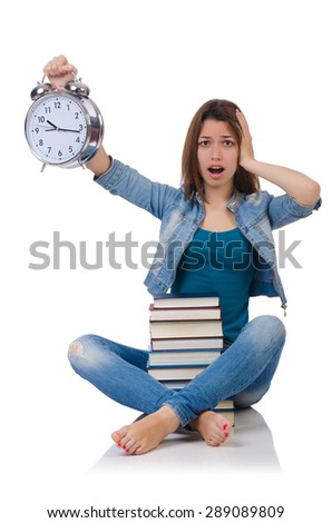 Student girl trying to meet her studying deadlines - stock photo