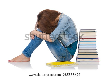 Student girl with books isolated on white - stock photo
