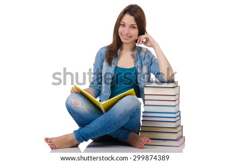 Student girl with books on white - stock photo