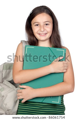 Student girl with folder and backpack isolated over white background - stock photo