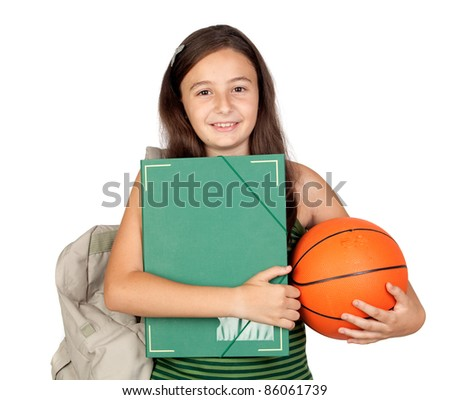 Student girl with folder, backpack and basketball isolated over white background - stock photo