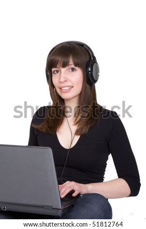 student girl with laptop and headphones