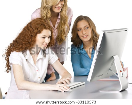 student girls on isolated background - stock photo