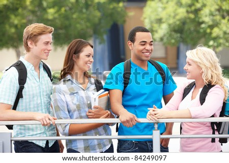 Student group outdoors - stock photo