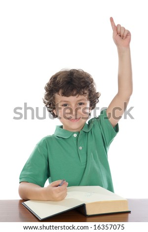 student handsome boy with his hand raised up - stock photo