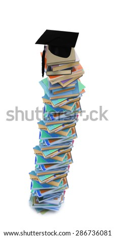 Student hat on books - stock photo