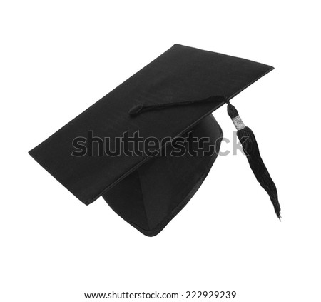 Student hat on white with clipping path - stock photo