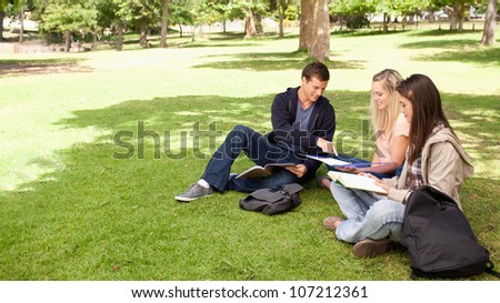 Student helping two female teenagers to revise in a park - stock photo