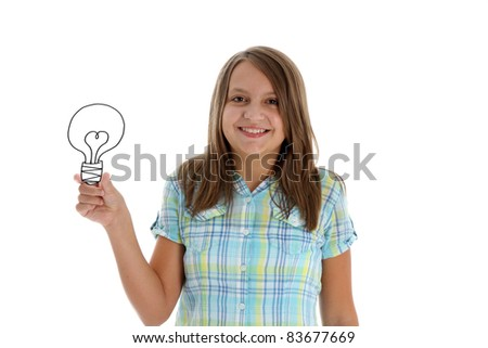 Student holding a lightbulb with an idea