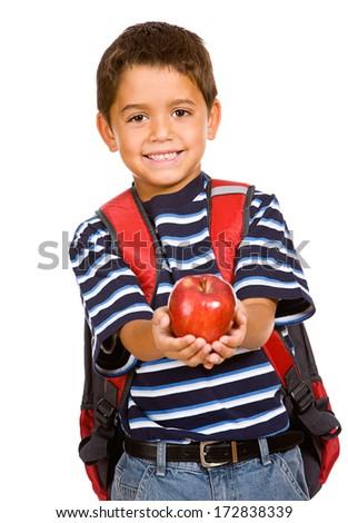 Student: Holding Apple For Teacher - stock photo