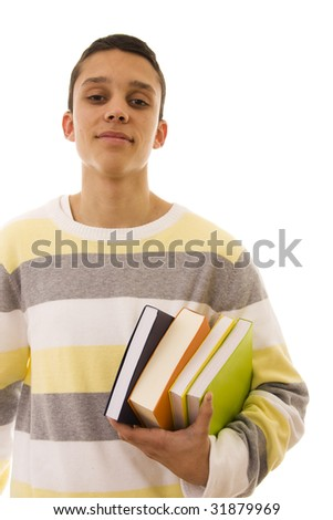 Student holding books ready to go to the school - stock photo