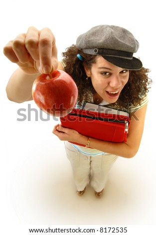 Student holding out a bribe only an inexperienced teacher could fall for - stock photo