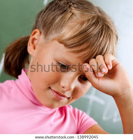 student in the class receives education - stock photo
