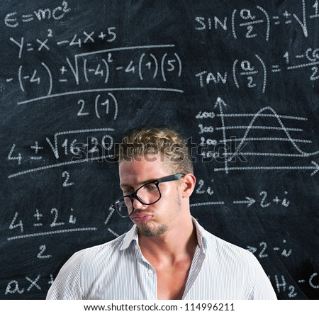 Student in trouble with the study - stock photo