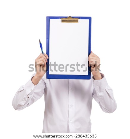 student in white shirt holding white sign to write it on your text isolated on white background - stock photo