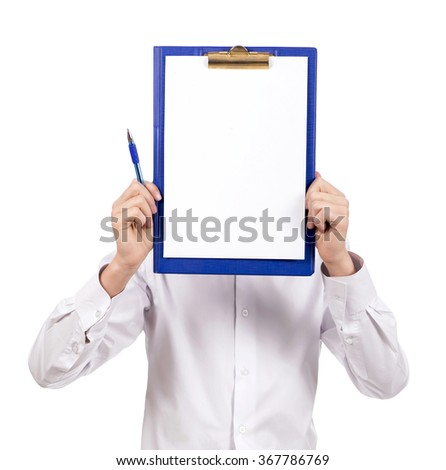 student in white shirts holding white sign to write it on your text isolated on white background - stock photo