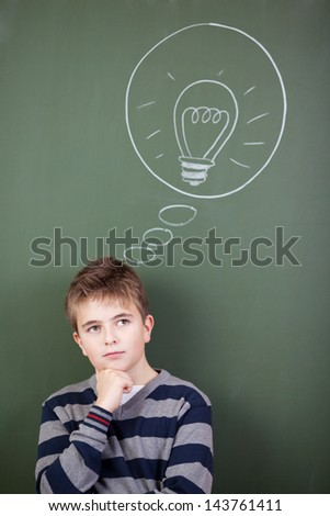 Student is about to solve the problem - stock photo