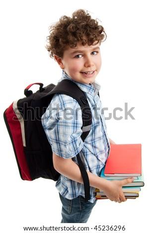 Student isolated on white background - stock photo